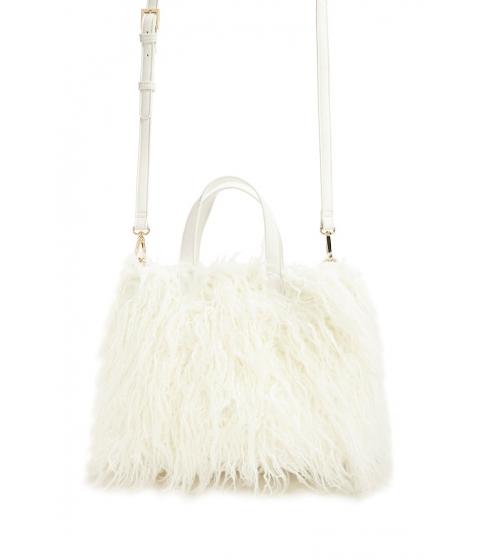 Genti Femei Forever21 Shaggy Faux Fur Crossbody Bag CREAM