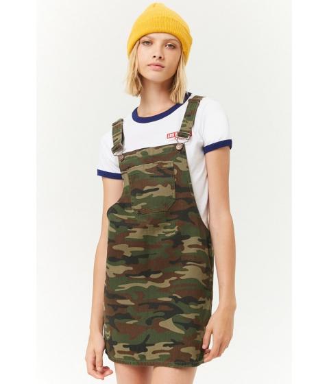 Imbracaminte Femei Forever21 Camo Denim Overall Mini Dress OLIVEBROWN