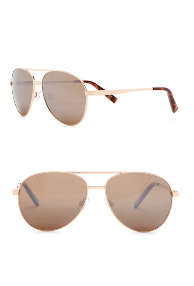 Ochelari Barbati Steve Madden 62mm Aviator Polarized Metal Frame Sunglasses JGLD