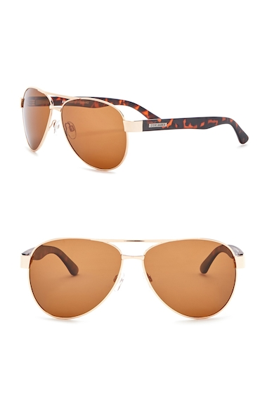 Ochelari Barbati Steve Madden 61mm Aviator Polarized Metal Frame Sunglasses GOLD