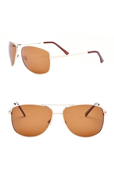 Ochelari Barbati Steve Madden 63mm Square Aviator Polarized Metal Frame Sunglasses GOLD
