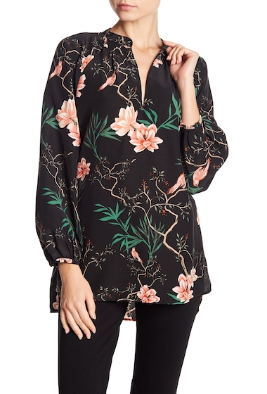 Imbracaminte Femei 14th Union Printed Smocked Split Collar Blouse Regular Petite BLACK BIRDWATCH FLORAL