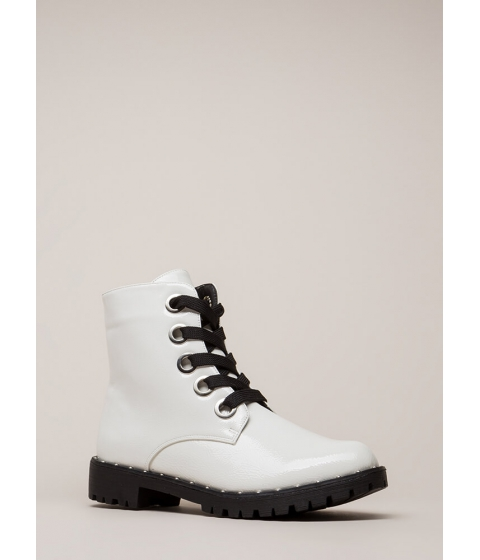 Incaltaminte Femei CheapChic Always Edgy Studded Combat Boots White