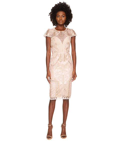Imbracaminte Femei Marchesa Embroidered Cocktail w Cap Sleeves Blush