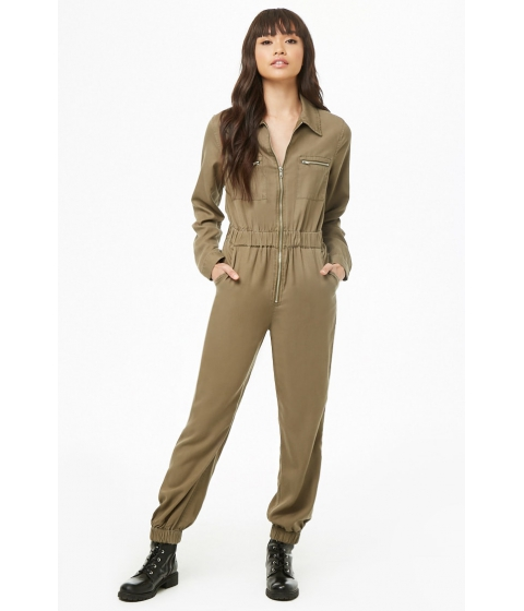 Imbracaminte Femei Forever21 Zip-Front Chambray Jumpsuit OLIVE