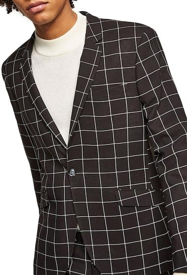 Imbracaminte Barbati TOPMAN Skinny Fit Windowpane Suit Jacket BLACK MULTI