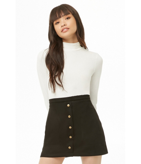 Imbracaminte Femei Forever21 Faux Suede Button-Front Skirt BLACK