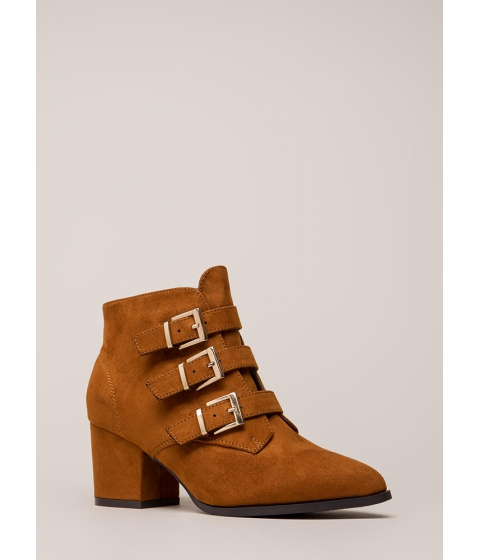 Incaltaminte Femei CheapChic Three Straps You're Out Chunky Booties Chestnut