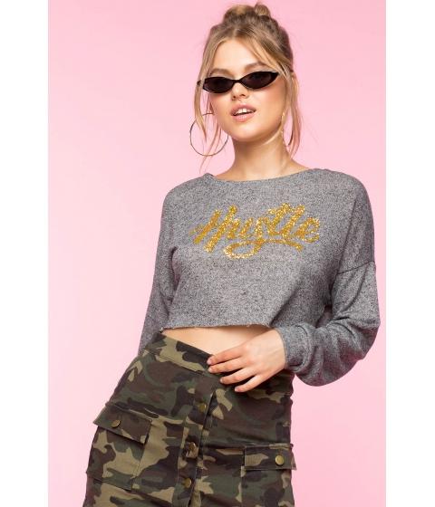 Imbracaminte Femei CheapChic Hustle Hard Glitter Sweatshirt Charcoal