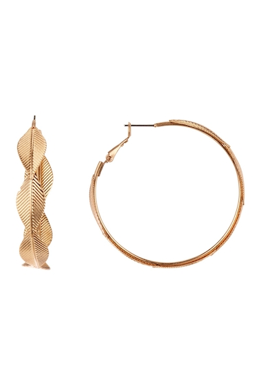 Bijuterii Femei Melrose and Market Feather 51mm Hoop Earrings GOLD