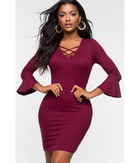 Imbracaminte Femei CheapChic Izzy Lace Up Ribbed Dress WineBurgundy