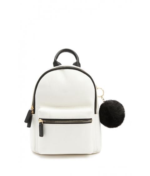 Genti Femei Forever21 Pom Pom Keychain Backpack CREAMMULTI