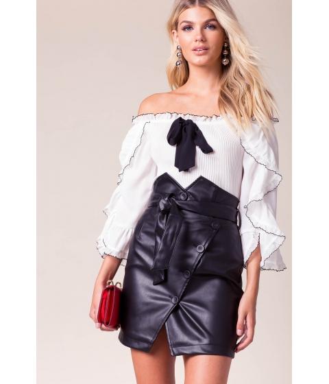 Imbracaminte Femei CheapChic Jane Belted Vegan Leather Skirt Black