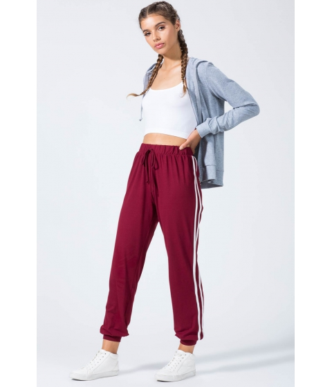 Imbracaminte Femei CheapChic Brushed Double Stripe Jogger WineBurgundy