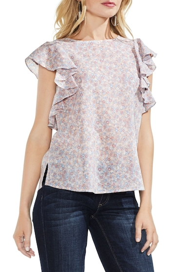 Imbracaminte Femei Vince Camuto Whisper Ditsy Ruffle Sleeve Top Regular Petite FRENCH PEA