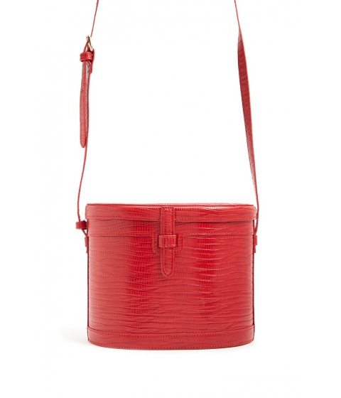 Genti Femei Forever21 Faux Leather Cylinder Crossbody RED