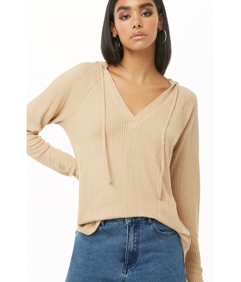 Imbracaminte Femei Forever21 Waffle Knit Hooded Top TAN