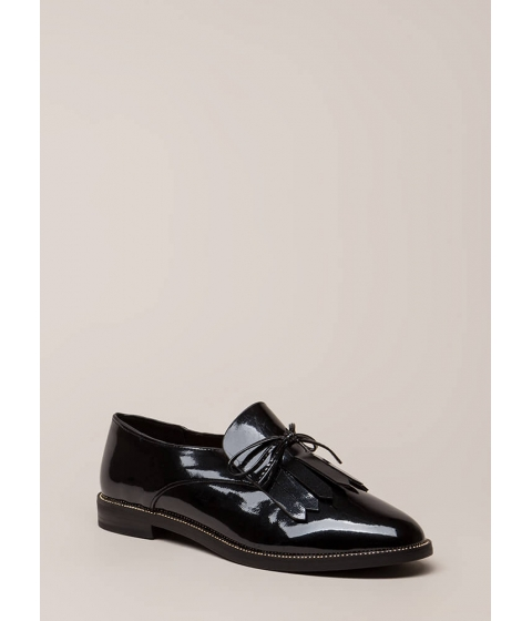 Incaltaminte Femei CheapChic My Style Fringed Faux Patent Loafers Black