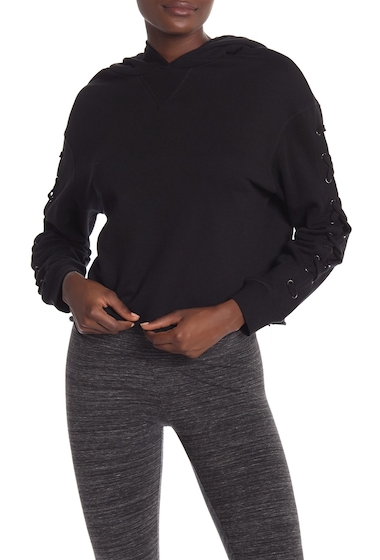 Imbracaminte Femei Marc New York Solid Lace-Up Sleeve Hoodie BLACK