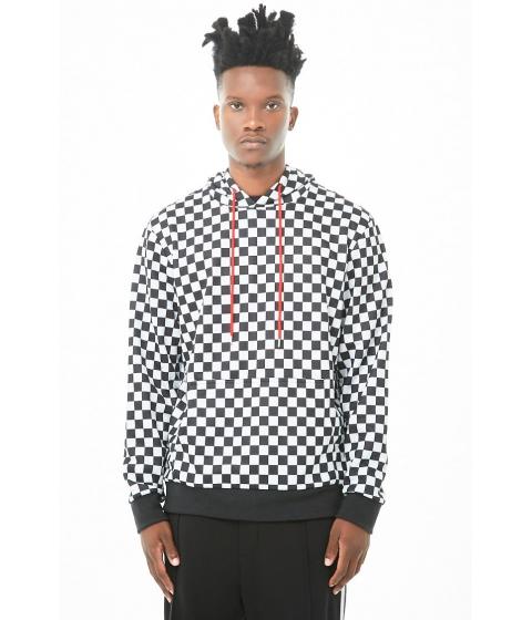 Imbracaminte Barbati Forever21 French Terry Checkered Pullover Hoodie WHITEBLACK