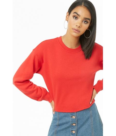 Imbracaminte Femei Forever21 Fleece Raw-Cut Top RED