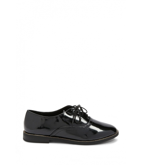 Incaltaminte Femei Forever21 Faux Patent Leather Oxfords BLACK