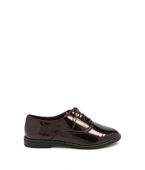 Incaltaminte Femei Forever21 Faux Patent Leather Oxfords BURGUNDY