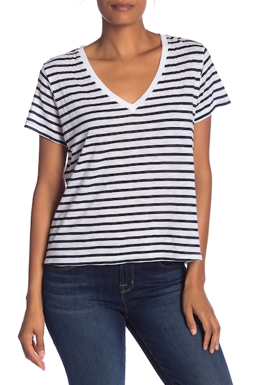 Imbracaminte Femei Michael Stars Striped V-Neck T-Shirt WHITE