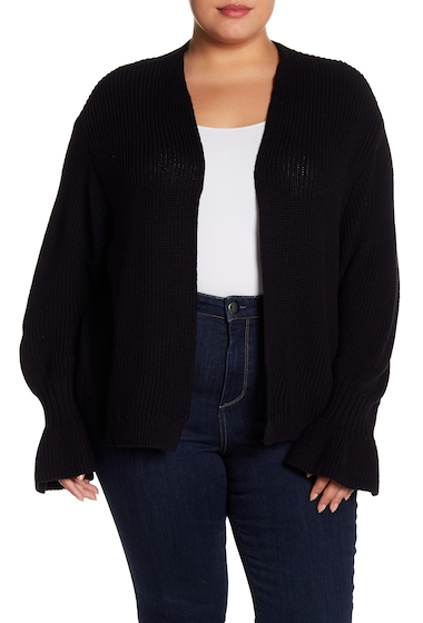 Imbracaminte Femei Melrose and Market Ribbed Bell Cuff Cardigan Plus Size BLACK