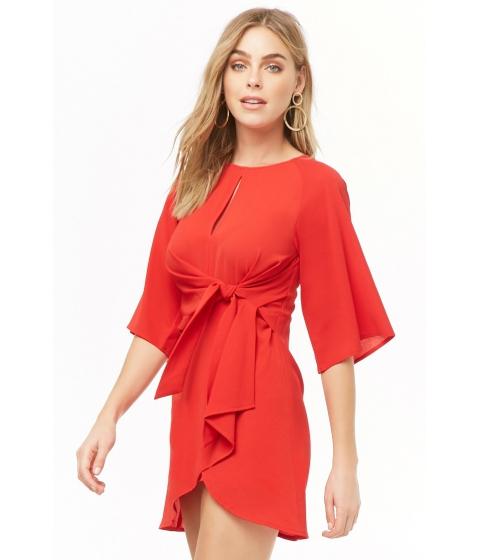 Imbracaminte Femei Forever21 Vented Tulip-Hem Mini Dress RED