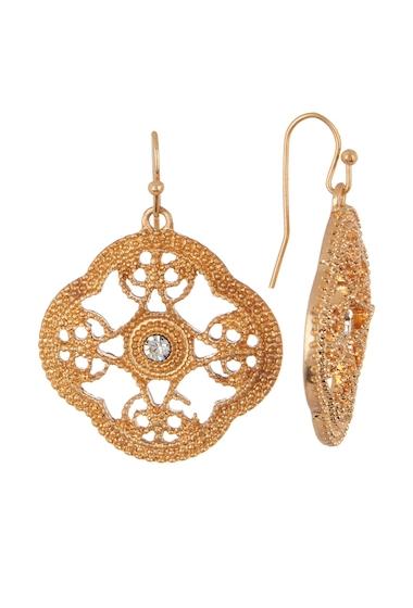 Bijuterii Femei Melrose and Market Crystal Filigree Quatrafoil Drop Earrings CLEAR- GOLD