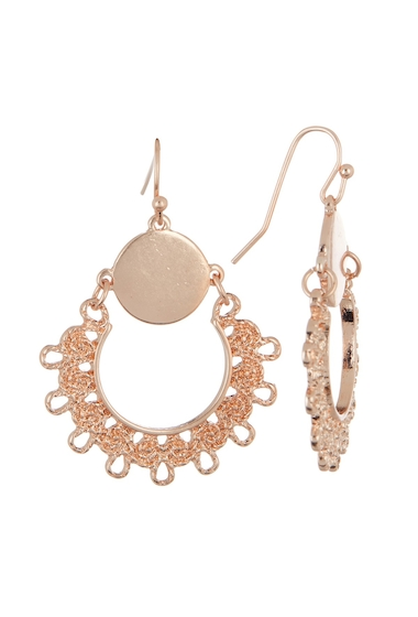 Bijuterii Femei Melrose and Market Filigree Frontal Hoop Dangle Earrings ROSE GOLD