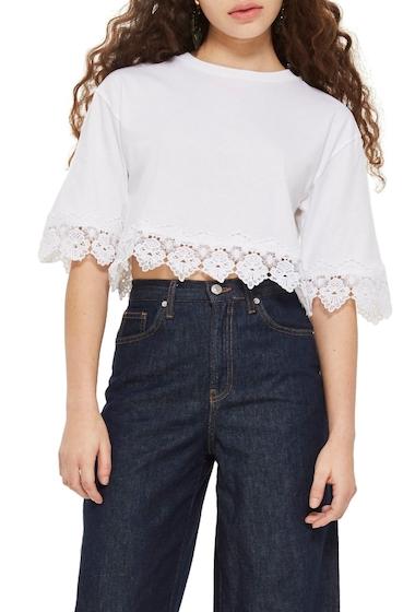 Imbracaminte Femei TOPSHOP Boxy Lace Trim Top WHITE