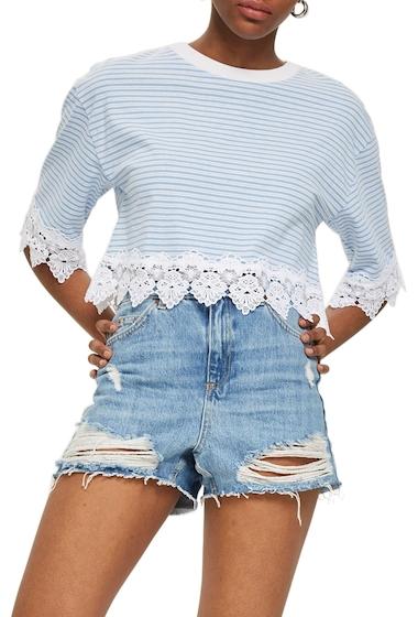 Imbracaminte Femei TOPSHOP Stripe Lace Hem Crop Shirt BLUE MULTI