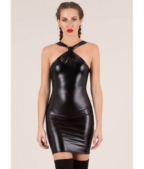 Imbracaminte Femei CheapChic New Skin Knotted Faux Leather Dress Black