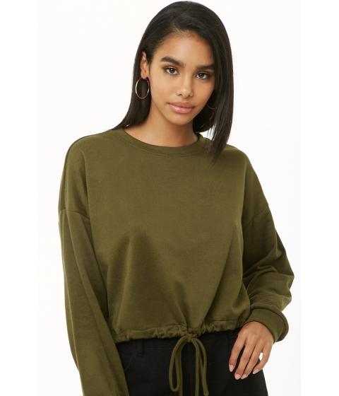 Imbracaminte Femei Forever21 Velveteen Drawstring Sweater OLIVE