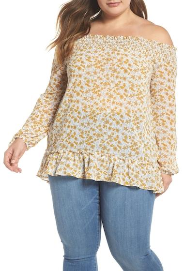 Imbracaminte Femei GLAMOROUS Floral Back Tie Off the Shoulder Blouse Plus Size YELLOW ORANGE FLOWER
