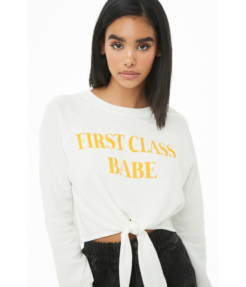 Imbracaminte Femei Forever21 First Class Babe Graphic Crop Top WHITE
