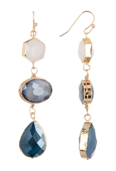 Bijuterii Femei Panacea White Grey Teal Crystal Linear Earrings MULTI