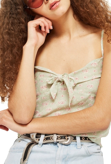 Imbracaminte Femei TOPSHOP Floral Camisole MINT GREEN MULTI