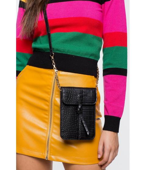 Genti Femei CheapChic Croc Loop Phone Crossbody Bag Black