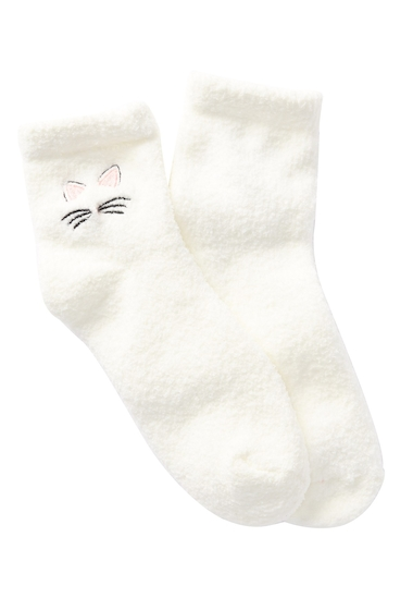 Accesorii Femei Free Press Embroidered Cozy Ankle Socks IVORY EGRET KITTY