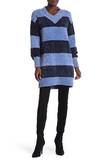 Imbracaminte Femei Solutions Block Stripe V-Neck Chenille Sweater Dress BLUEYAHMUL