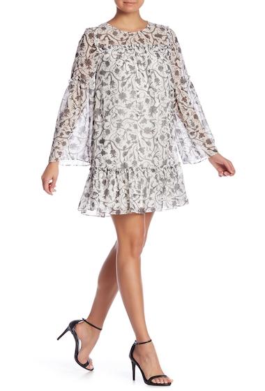 Imbracaminte Femei kensie Printed Ruffle Shift Dress CLOUDBLK HTHR