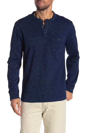 Imbracaminte Barbati MICHAEL BASTIAN Heathered Long Sleeve Henley Shirt INDIGO
