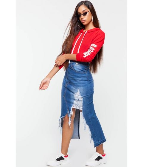 Imbracaminte Femei CheapChic Asymmetrical Denim Skirt Med Wash Denim