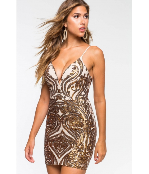Imbracaminte Femei CheapChic Dazzle You Sequin Bodycon Dress Brown Print