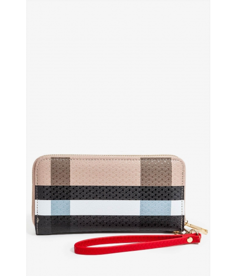 Genti Femei CheapChic Falling Plaid Zip Around Wallet Brown Pattern