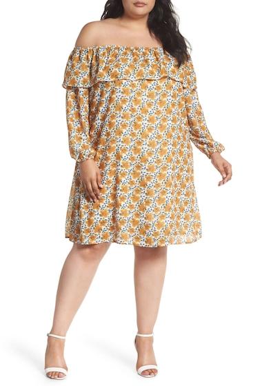 Imbracaminte Femei GLAMOROUS Floral Ruffle Off the Shoulder Shift Dress Plus Size CREAM RETRO FLORAL