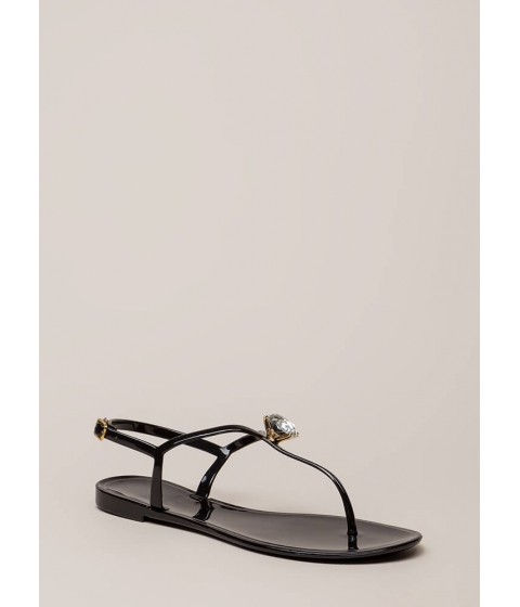 Incaltaminte Femei CheapChic Crown Jewel T-strap Jelly Sandals Black